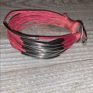 Jewelry - Pink and Silver Waxed Cord Bracelet